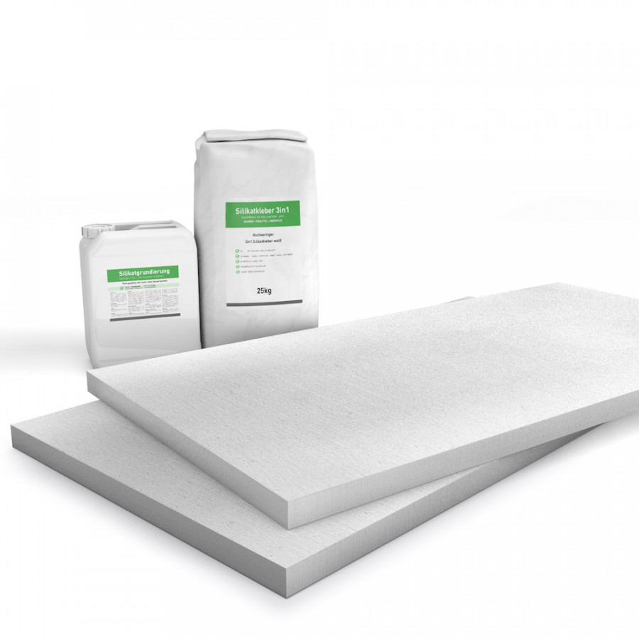 Kombi Sparpack P2 mit 30mm Kalziumsilikatplatten, Silikatgrundierung und Silikatkleber
