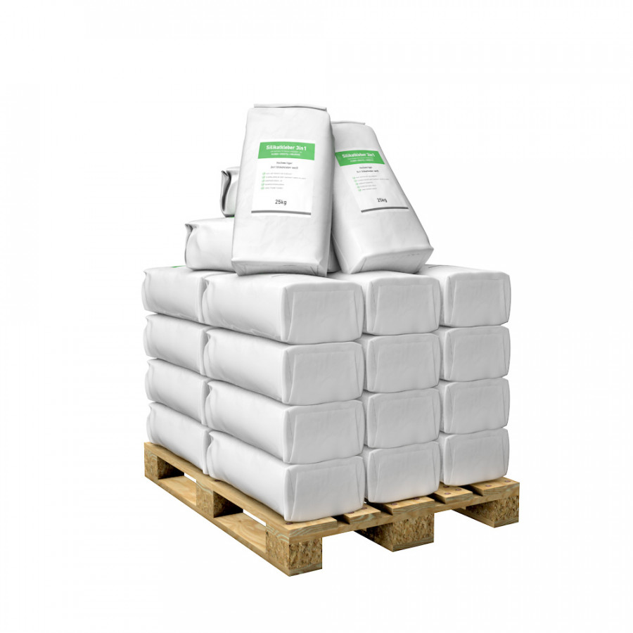 Silikatkleber 3in1 25kg Sack in weiß auf Palette zum kleben, spachteln & armieren