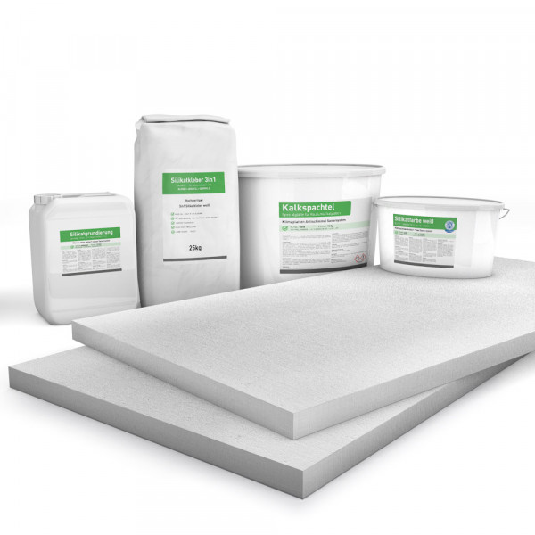 Kombi Sparpack P4 mit 30mm Kalziumsilikatplatten, Silikatgrundierung, Silikatkleber, Kalkspachtel und Silikatfarbe