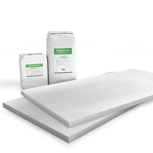 Kombi Sparpack P2 mit 25mm Kalziumsilikatplatten, Silikatgrundierung und Silikatkleber