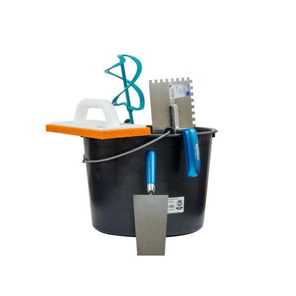 Werkzeug Sparpack L bestehend aus Baueimer, Profi Wendelrührer, Putzkelle, Glättkelle gezahnt 8x8mm, Reibbrett