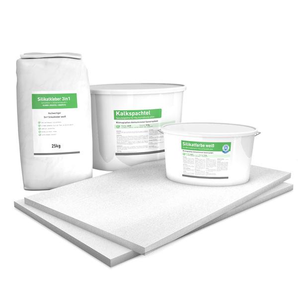 25 mm Sparpack mit vorgrundierten Kalziumsilikatplatten (1.000 mm x 625 mm), Silikatkleber, Kalkspachtel & Silikatfarbe zur Innendämmung